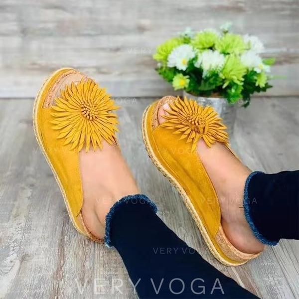 Women's PU Flat Heel Sandals Flats Peep Toe With Flower shoes
