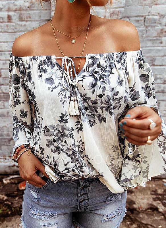 Print Floral Off the Shoulder Long Sleeves Raglan Sleeve Casual Blouses