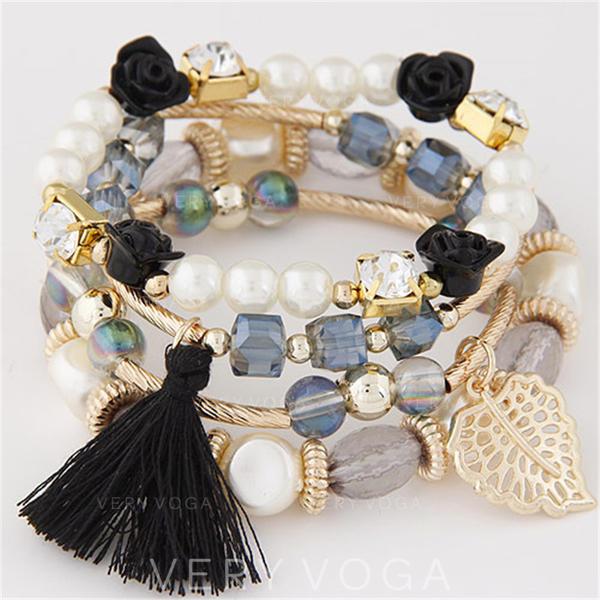 Blätter Förmig Legierung Perlen Frauen Armbänder (Satz 4)