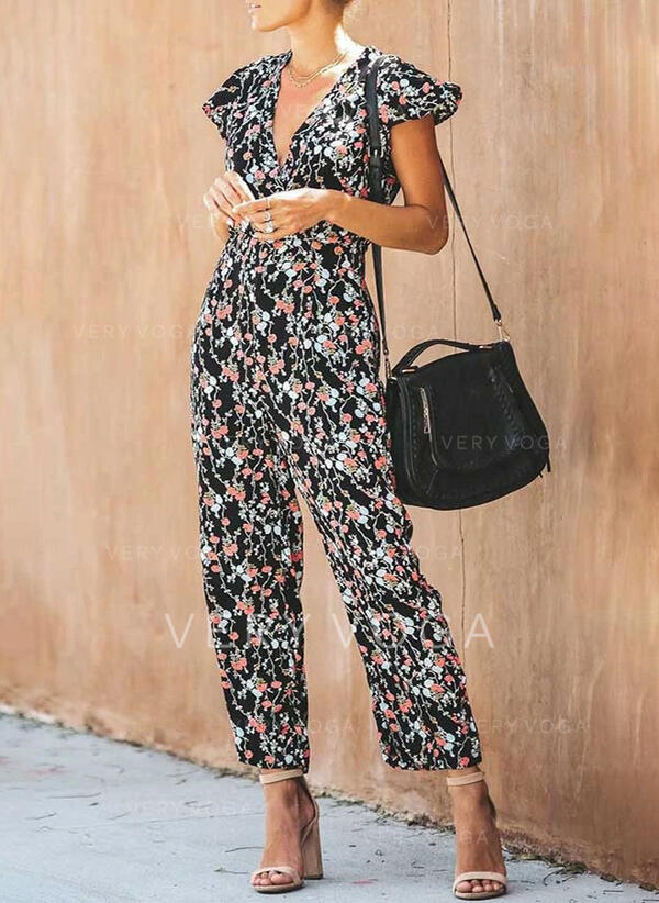 Floral Print V-Neck Short Sleeves Casual Vacation Jumpsuit
