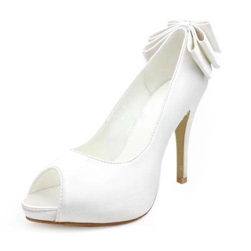 185dd1c8 Satyna Obcas Stożkowy Z Odkrytym Palcem Buty na Platformie Sandały Buty  Ślubne Z Kokarda