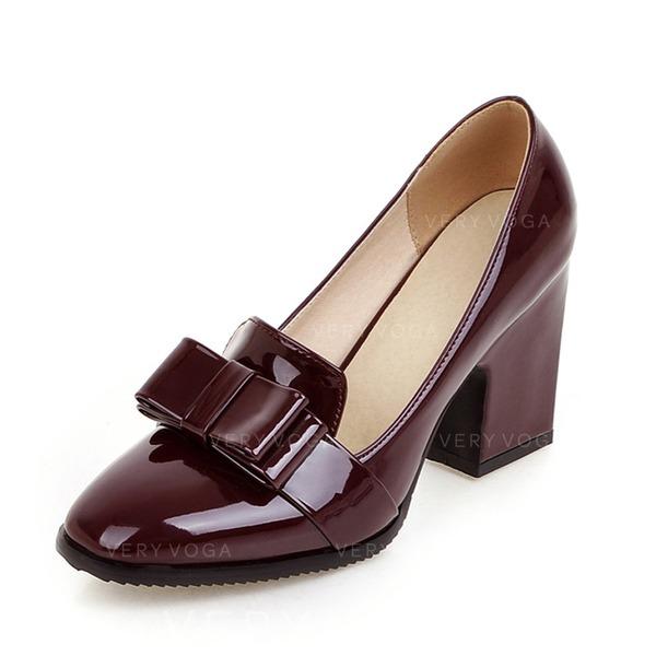 Bayanlar Rugan Tıknaz Topuk Pompalar Kapalı Toe ayakkabı