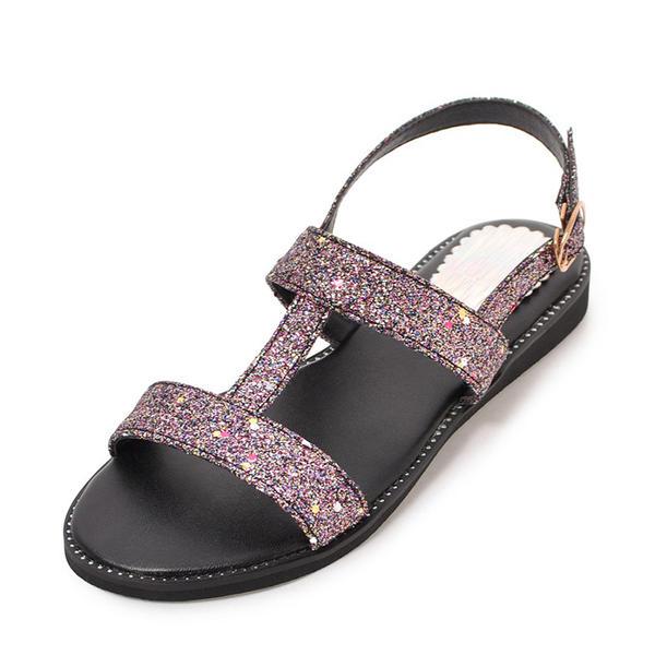 c2c40674df0 Dámské Šumivé Glitter Placatý podpatek Sandály Peep Toe Lodičky s otevřenou  patou S Šumivé Glitter obuv