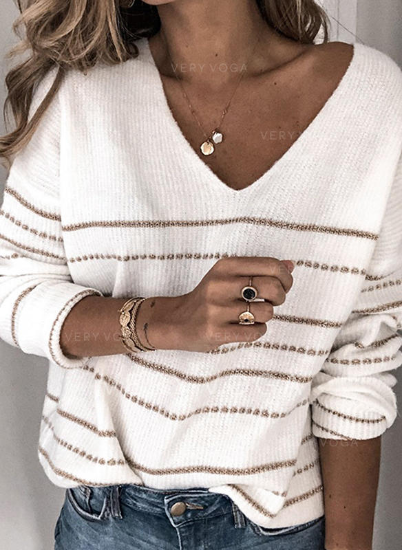 Striped V-Neck Sweaters