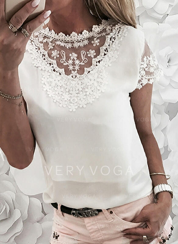 Solid Lace Beaded Round Neck Short Sleeves Elegant Blouses