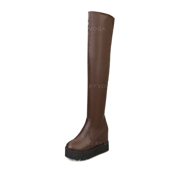 Women's Leatherette Wedge Heel Knee High Boots shoes