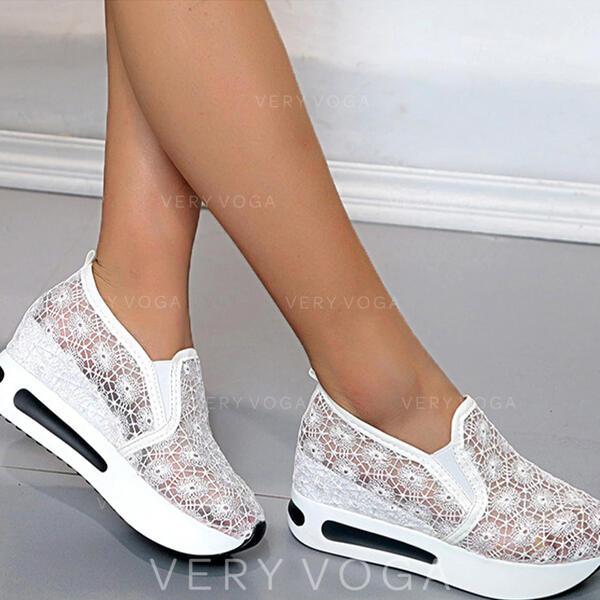 Mulheres Pano Malha Sem salto Sem salto Toe rodada Tênnis com Cor sólida sapatos