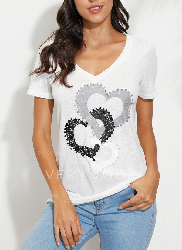 Print V-Neck Short Sleeves Casual T-shirts (1003295830)