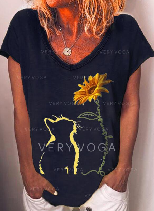 Animal Print Sunflower Print V-Neck Short Sleeves Casual T-shirts