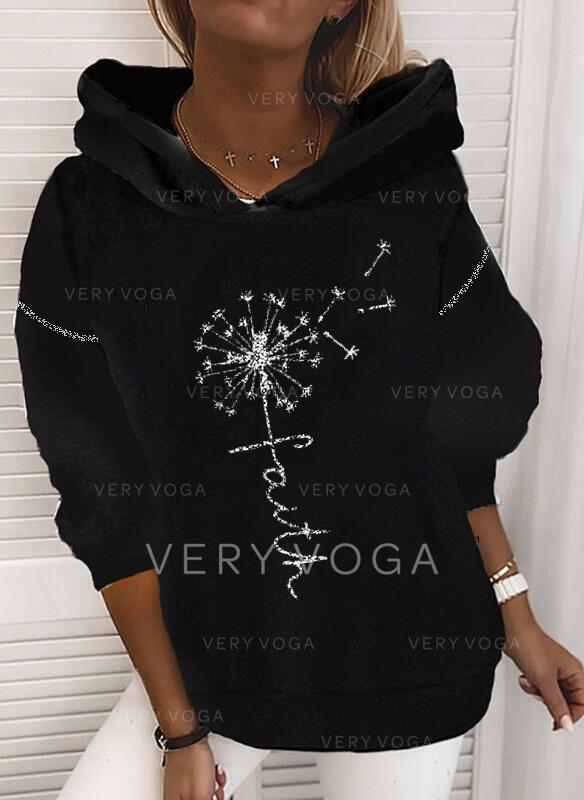 Print Figure Dandelion Long Sleeves Hoodie