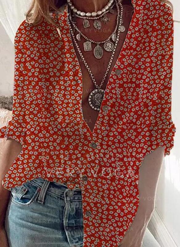 Nadruk Dekolt w kształcie litery V Długie rękawy Zapięcie na guzik Casual Bluski koszulowe