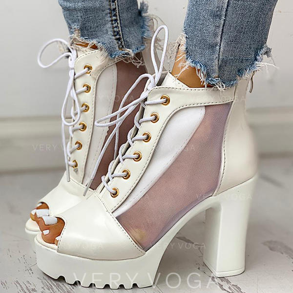 Women's PU Chunky Heel Peep Toe With Lace-up shoes