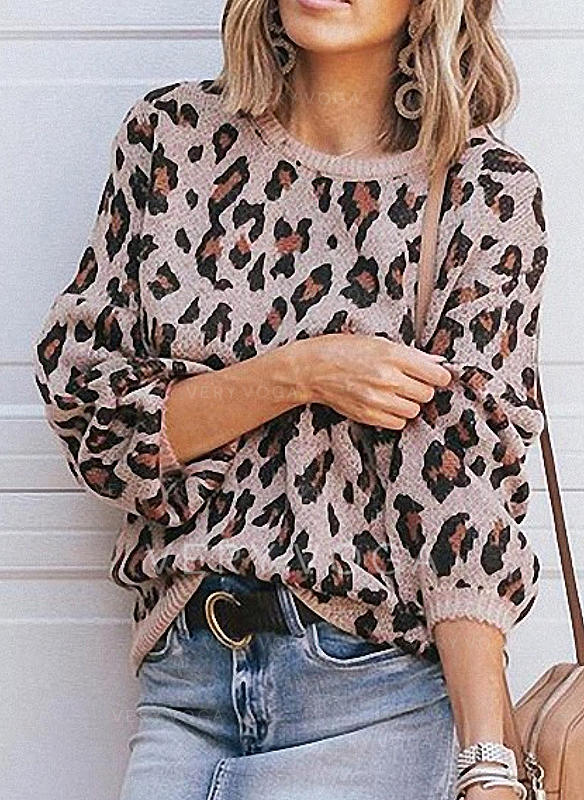 Leopard Round Neck Sweaters