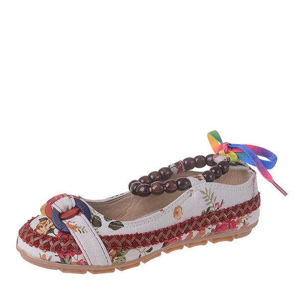 Femmes Toile Talon plat Chaussures plates Bout fermé avec Brodé chaussures