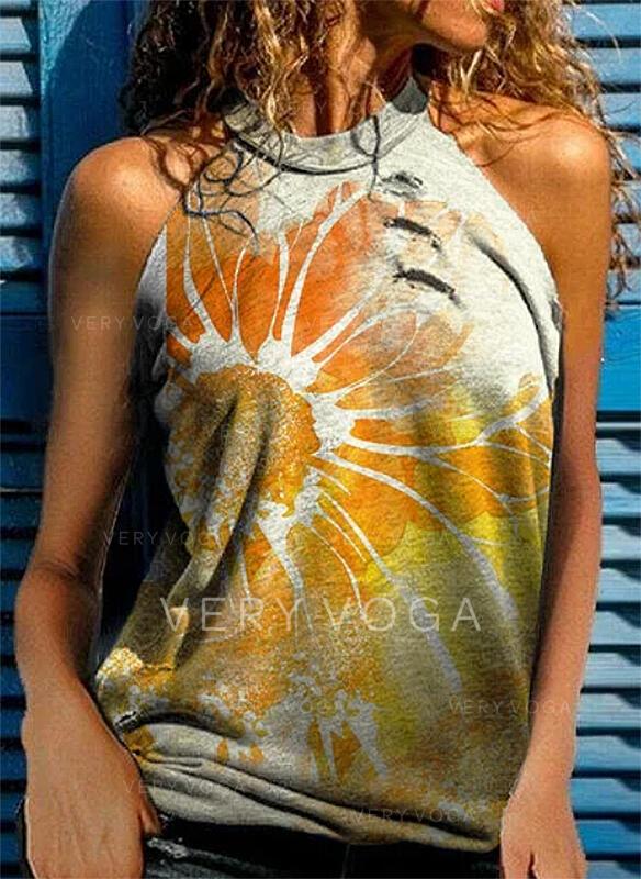 Kukka Printti Hihna Hihaton T-paidat