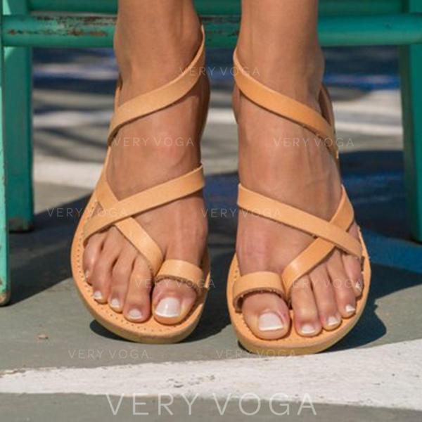 Női PU Lapos sarok Szandál Lakások Peep Toe -Val Egyéb cipő