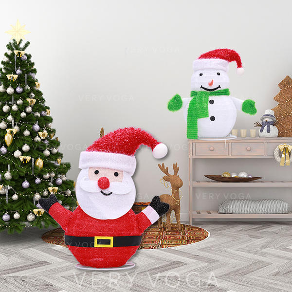 Merry Christmas Snowman Santa Metal Lights Christmas Décor