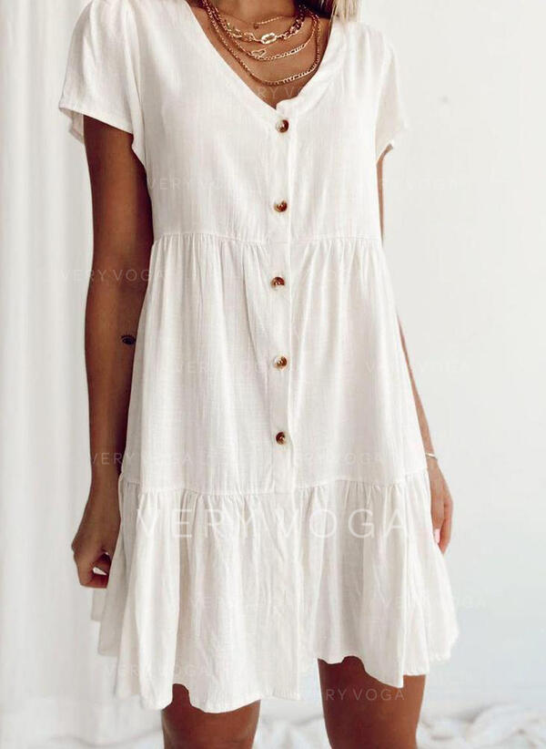 Solid Short Sleeves Shift Above Knee Casual Tunic Dresses