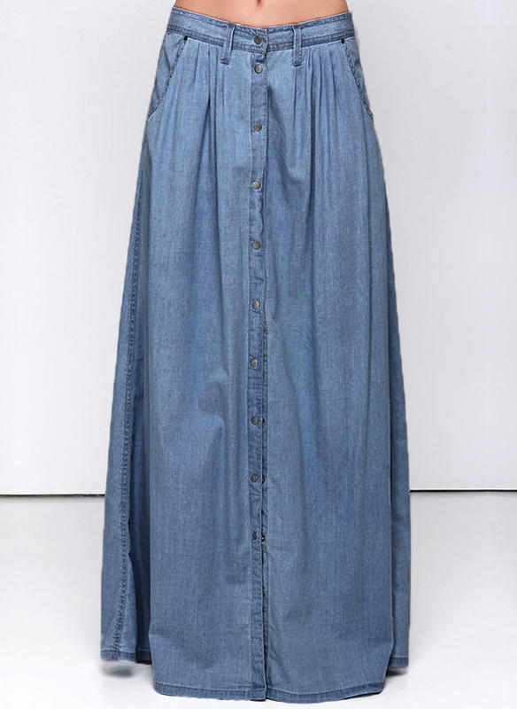9e6e3e2edf25 Βαμβάκι Πεδιάδα Μάξι φόρεμα Demin φούστες (1005236987) - φούστες ...