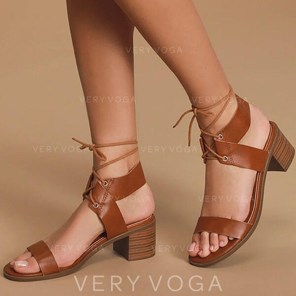 Kvinder PU Stor Hæl sandaler Pumps med Blondér på kryds og tværs sko