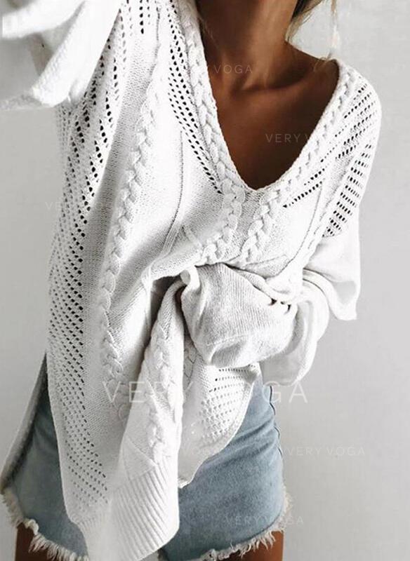 Jednolity Prążkowana dzianina Masywna dzianina Dekolt w kształcie litery V Casual Swetry