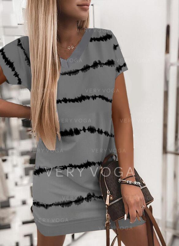 Nadrukowana Krótkie rękawy Koktajlowa Nad kolana Casual T-shirt Sukienki