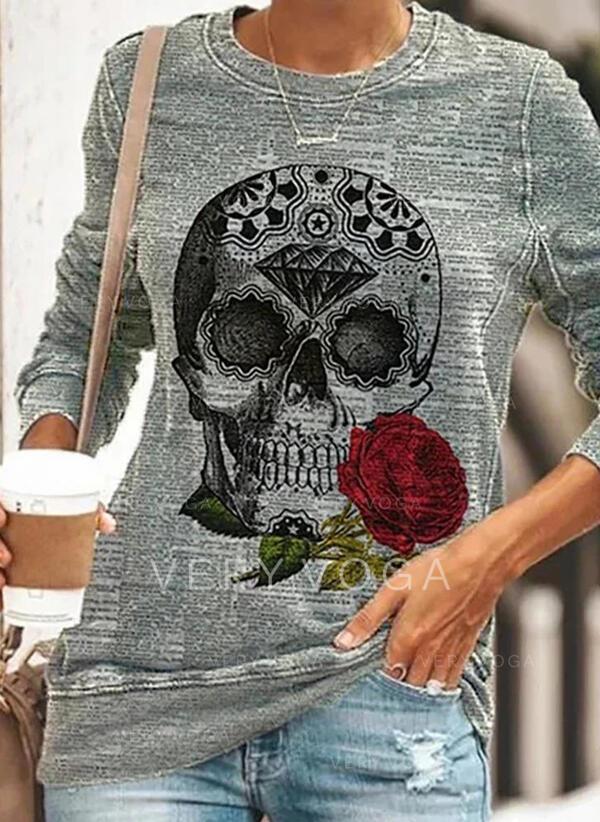 Nyomtatás Virágos Halloween Kerek nyak Hosszú ujjú Pulóver