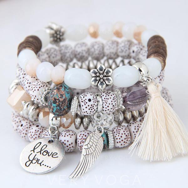 Ailes en forme Alliage Perles Unisexe Bracelets de mode (Lot de 4)