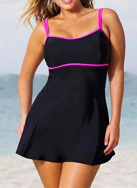 Jednobarevná Popruh Elegantní Plus velikost Plavky Plavky