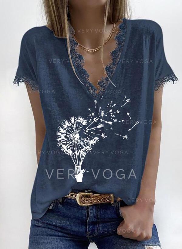 Lace Print V-Neck Short Sleeves T-shirts