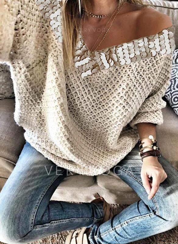 Sólido Lentejuelas Cuello en V Casuales Suéteres