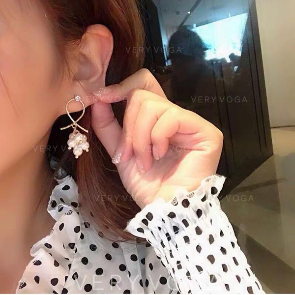 Pourpre De faux pearl Cuivre Femmes Boucles d'oreilles