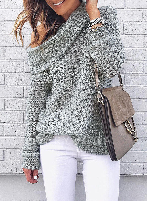 Waffle Knit Off the Shoulder Sweaters