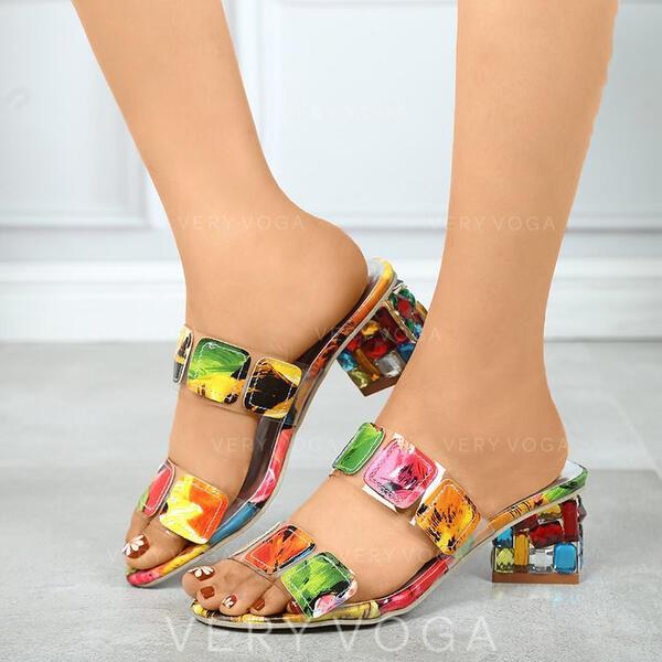 Mulheres PU Salto robusto Sandálias Calços com Cor da emenda sapatos
