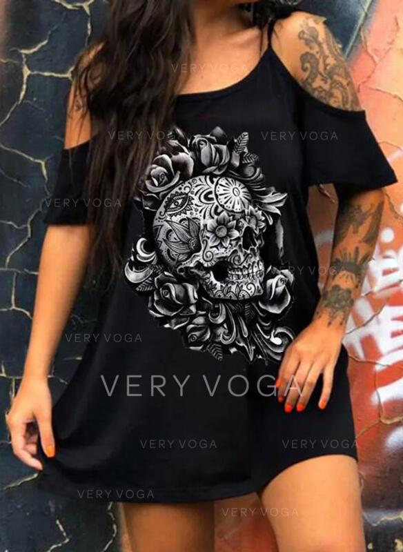 Impresión/Floral Mangas 1/2/Top sin hombros Tendencia Sobre la Rodilla Casual Vestidos