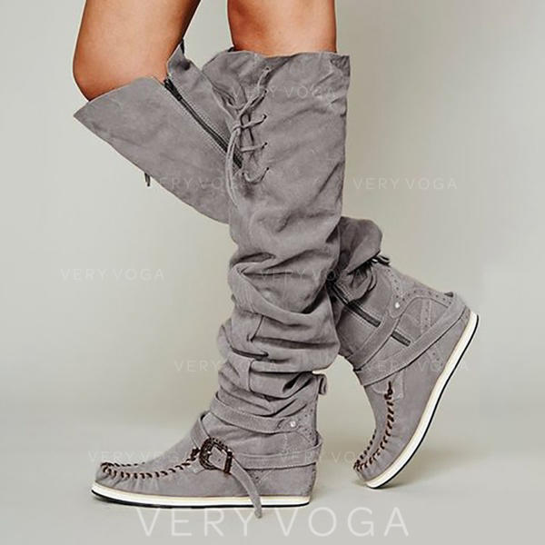 Women's Suede Flat Heel Knee High Boots With Buckle Zipper Lace-up shoes