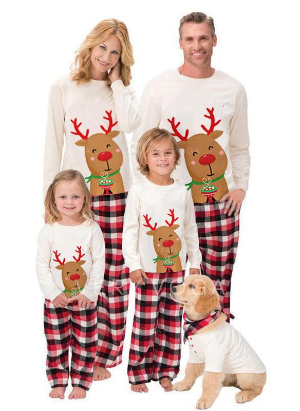 Rensdyr Plaid Familie Matchende Jul Pyjamas