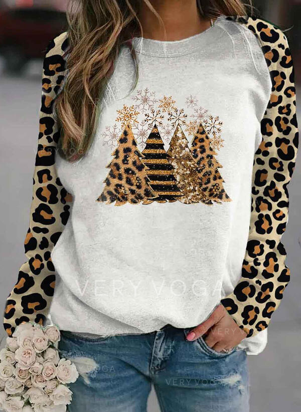 Leopard Round Neck Long Sleeves Christmas Sweatshirt