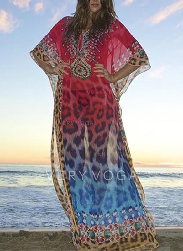 Luipaard Print V-hals Sexy Badjassen Badpakken