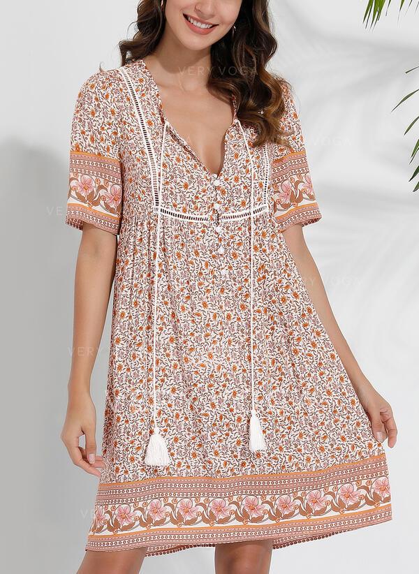 Print/Floral Short Sleeves Shift Knee Length Casual/Boho/Vacation Tunic Dresses