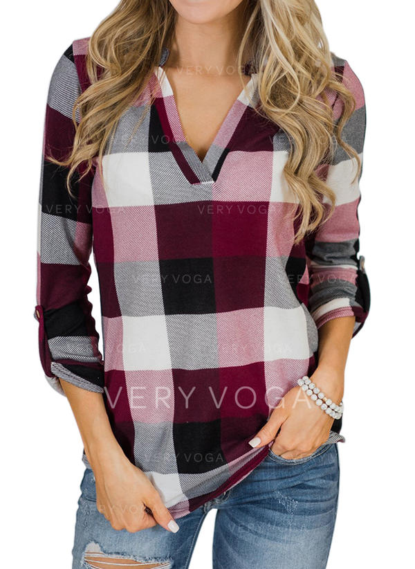 Print V Neck Long Sleeves Casual Shirt Blouses
