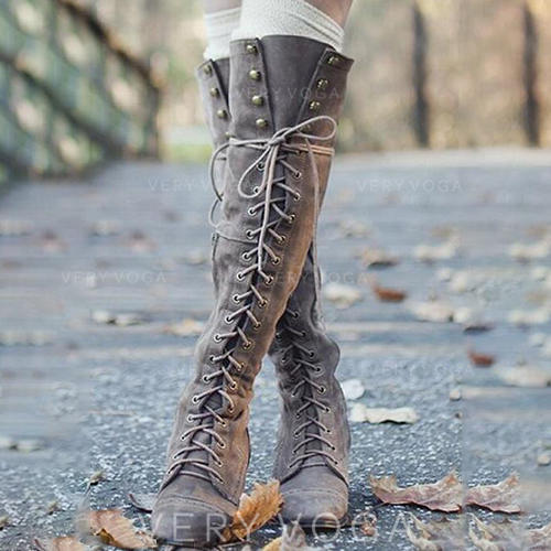Women's PU Low Heel Pumps Boots Over The Knee Boots With Lace-up shoes
