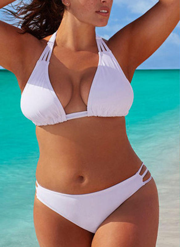 Solid Color Low Waist Halter Sexy Plus Size Bikinis Swimsuits