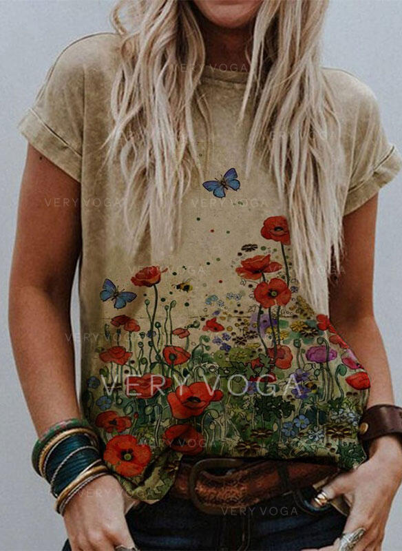 Animal Print Floral Round Neck Short Sleeves T-shirts