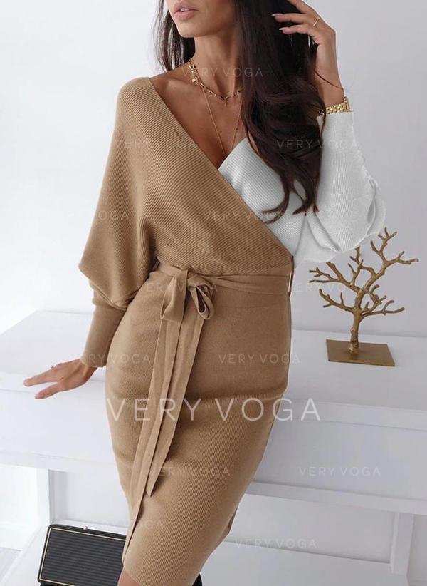 Color Block Chunky knit V neck Sweater Dress