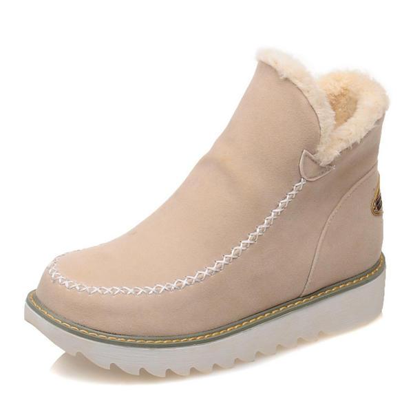 Dla kobiet Zamsz Płaski Obcas Kozaki Botki Buty zimowe Z Pozostałe obuwie