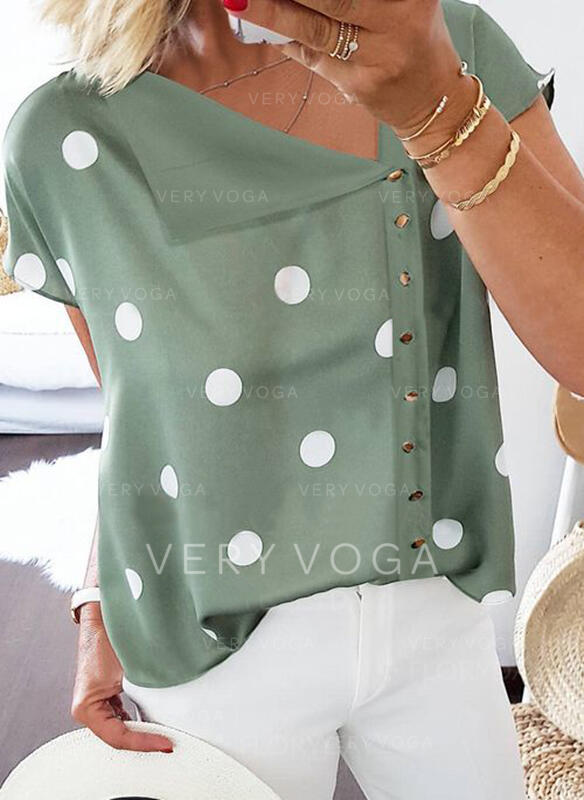 PolkaDot V-Neck Short Sleeves Button Up Casual Blouses