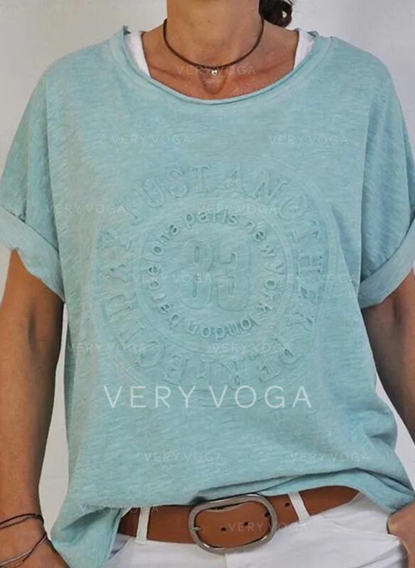 Einfarbig Rundhalsausschnitt Kurze Ärmel T-Shirts