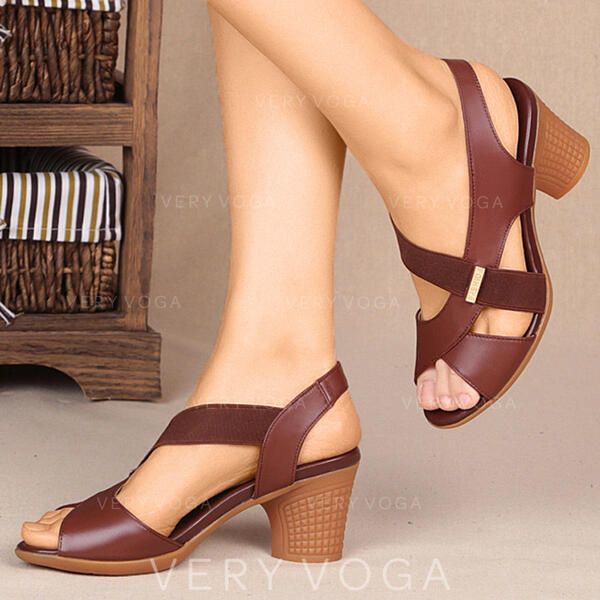 Women's PU Chunky Heel Sandals Pumps With Elastic Band Crisscross shoes
