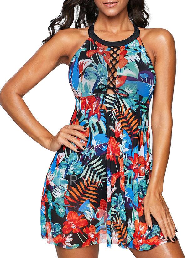 Colorful Strap Bohemian Swimdresses Swimsuits